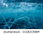cracks in the ice. frozen lake... | Shutterstock . vector #1118215889