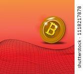 golden coin with bitcoin symbol ... | Shutterstock .eps vector #1118217878
