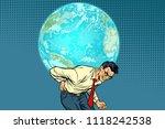 man carrying planet earth. pop... | Shutterstock .eps vector #1118242538