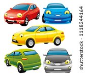 set of cheerful toy cars on... | Shutterstock .eps vector #1118244164