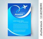 airplane flyer brochure design... | Shutterstock .eps vector #1118258090