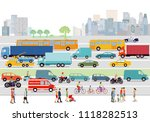 great city with road traffic... | Shutterstock .eps vector #1118282513