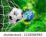 soccer ball in net with brazil...   Shutterstock .eps vector #1118286983