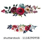 watercolor floral bouquet... | Shutterstock . vector #1118290958