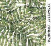 palm monstera seamless pattern. ... | Shutterstock .eps vector #1118295263