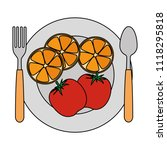 dish and cutlery with fruits... | Shutterstock .eps vector #1118295818