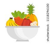 bowl with fruits and vegetables | Shutterstock .eps vector #1118296100