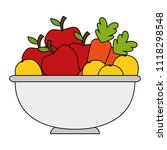fruits and vegetables in bowl | Shutterstock .eps vector #1118298548