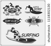 set of surfing emblems  labels... | Shutterstock .eps vector #1118302130