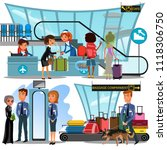 check in airport with lady on... | Shutterstock .eps vector #1118306750