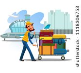 man carries trolley with... | Shutterstock .eps vector #1118306753