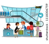 check in airport with lady on... | Shutterstock .eps vector #1118306759