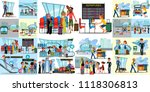 people in airport flat color... | Shutterstock .eps vector #1118306813