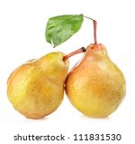 two ripe pears isolated on...   Shutterstock . vector #111831530