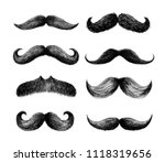 Set Of Moustaches. Hand Drawn...