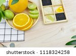 top view of fresh fruits and... | Shutterstock . vector #1118324258