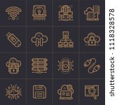 outline icons set of cloud... | Shutterstock .eps vector #1118328578