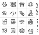 outline icons set of cloud... | Shutterstock .eps vector #1118328608