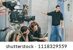 behind the scene. film crew... | Shutterstock . vector #1118329559
