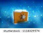 yellow folder and lock. data... | Shutterstock . vector #1118329574