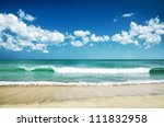 white sand beach and blue sky. | Shutterstock . vector #111832958