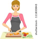 Illustration Of A Woman Slicing ...