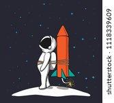 astronaut is being prepared to... | Shutterstock .eps vector #1118339609