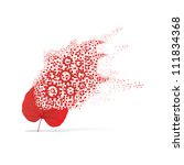 red leaf of gear on white... | Shutterstock . vector #111834368