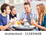 happy friends having a... | Shutterstock . vector #111834608