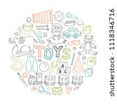 toys. set of sketches from... | Shutterstock .eps vector #1118346716
