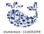 aquatic doodles cartoon sea... | Shutterstock . vector #1118352098
