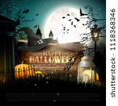 halloween poster with pumpkins... | Shutterstock .eps vector #1118368346