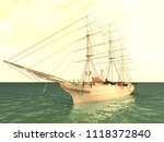 the ship is at sea in good... | Shutterstock . vector #1118372840