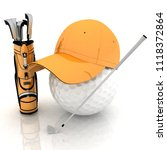 belonging for playing golf on a ... | Shutterstock . vector #1118372864