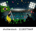 supporter hold brazil flag... | Shutterstock .eps vector #1118375669