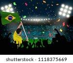 supporter hold brazil flag... | Shutterstock .eps vector #1118375669