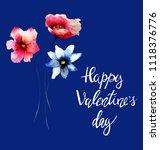 original flowers watercolor... | Shutterstock . vector #1118376776