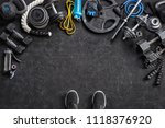 sports equipment on a black... | Shutterstock . vector #1118376920
