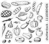 hand drawn set of food.... | Shutterstock .eps vector #1118380406