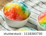 sweet homemade shaved rainbow... | Shutterstock . vector #1118383730