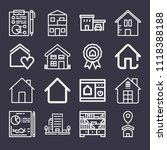 set of 16 home outline icons... | Shutterstock .eps vector #1118388188