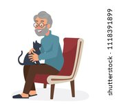 Stock vector vector illustration of old man sitting on cozy chair with his black cat grand father loves his 1118391899