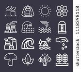 set of 16 nature outline icons... | Shutterstock .eps vector #1118398118