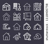 set of 16 home outline icons... | Shutterstock .eps vector #1118400758