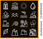 set of 16 nature outline icons... | Shutterstock .eps vector #1118402318