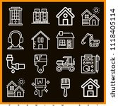 set of 16 construction outline... | Shutterstock .eps vector #1118405114