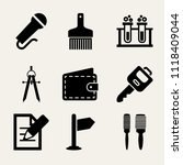set of 9 tools filled icons... | Shutterstock .eps vector #1118409044