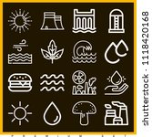 set of 16 nature outline icons... | Shutterstock .eps vector #1118420168