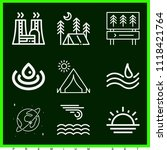 set of 9 nature outline icons... | Shutterstock .eps vector #1118421764