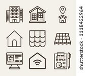 set of 9 home outline icons... | Shutterstock .eps vector #1118422964